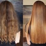 До и после использования маски для волос с желатином