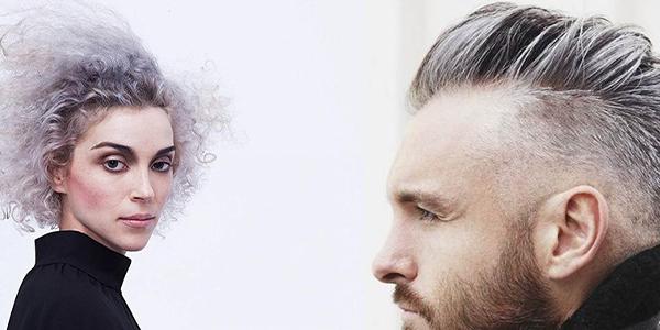 Седые волосы у мужчины и женщины