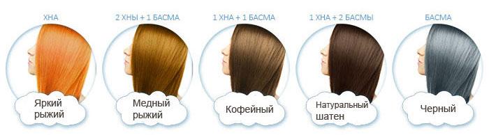 Цвета волос окрашенных басмой и хной