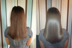 до и после выпрямления волос