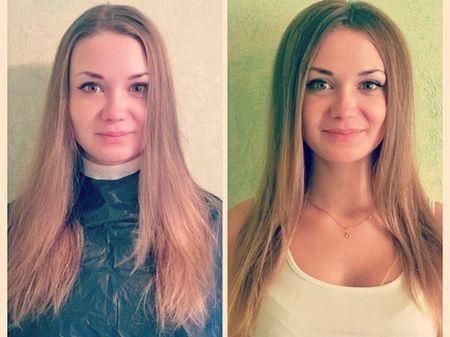 Волосы девушка после поцедуры