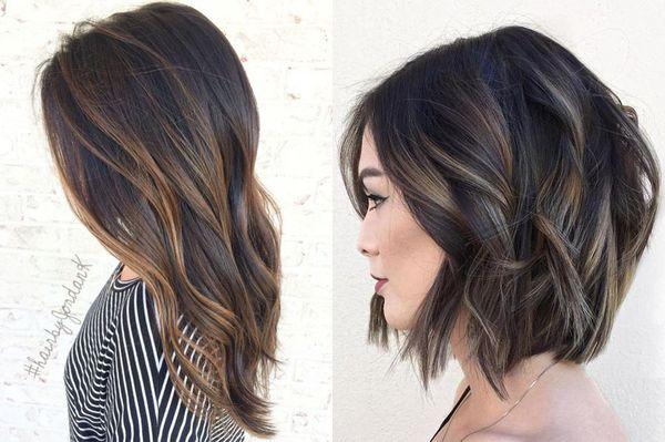 Осветление нескольких прядей на темных волосах