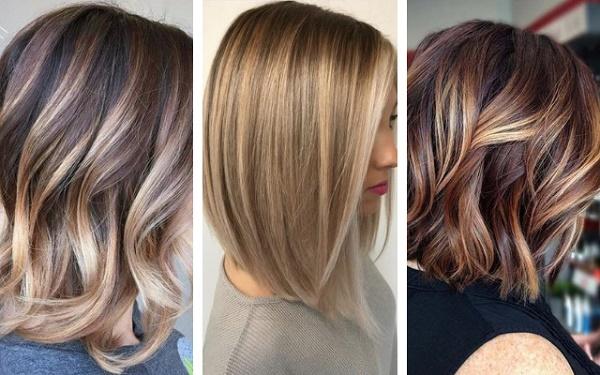 Калифорнийское мелирование на русые волосы каре