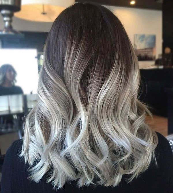 Серый балаяж на темные волосы