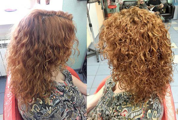 Биохимическая завивка на средние волосы фото