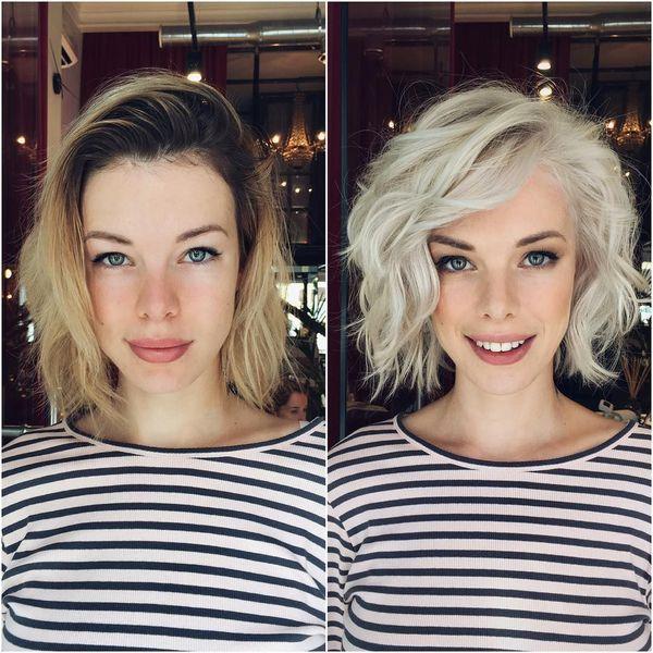 кудри на короткие волосы - фото до и после 3