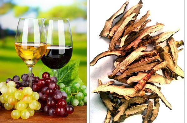 Виноградное вино и ревень
