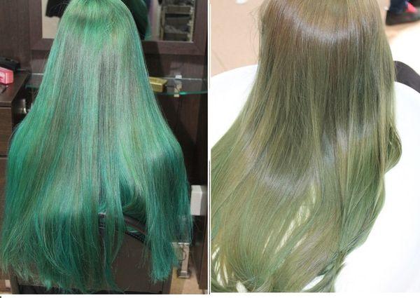 Осветлённые волосы с зелёным оттенком