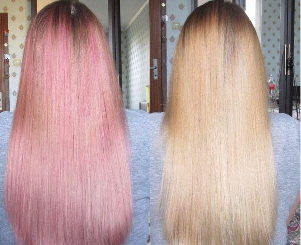 смывка розового цвета с волос