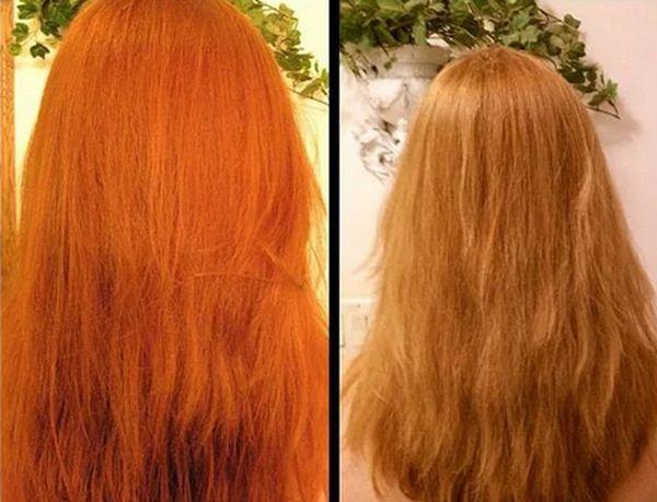 осветление рыжих волос