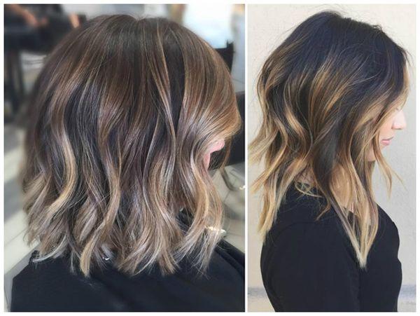 Окрашивание темных волос средней длины