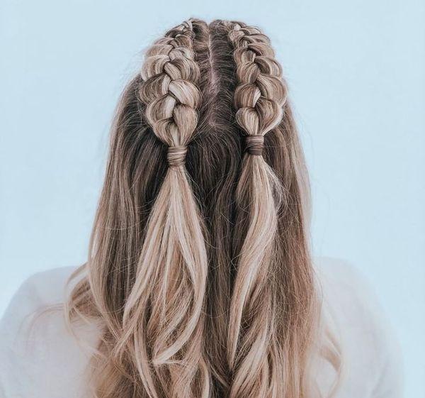две косы до половины