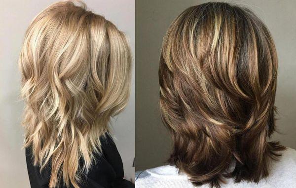 Градуированный каскад на средние волосы