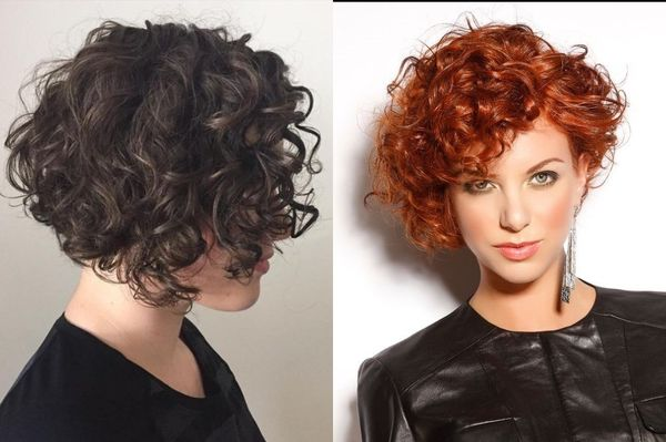 Асимметричные стрижки на вьющиеся волосы