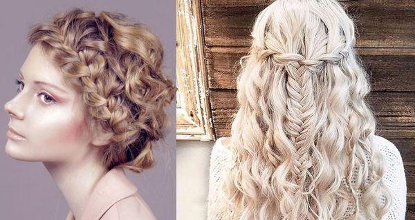 прическа на вьющиеся волосы с косичками