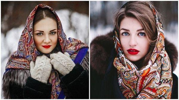Оренбургский и павловопосадский платок