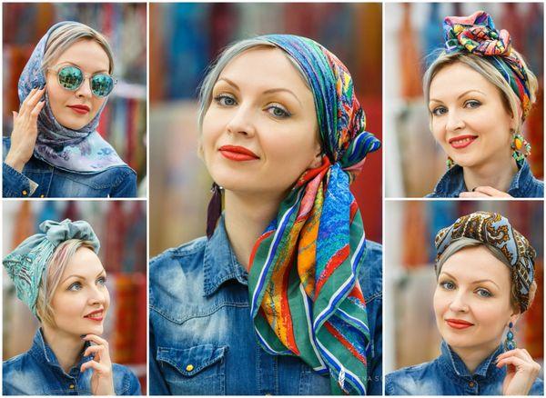 как завязывать квадратный платок на голову