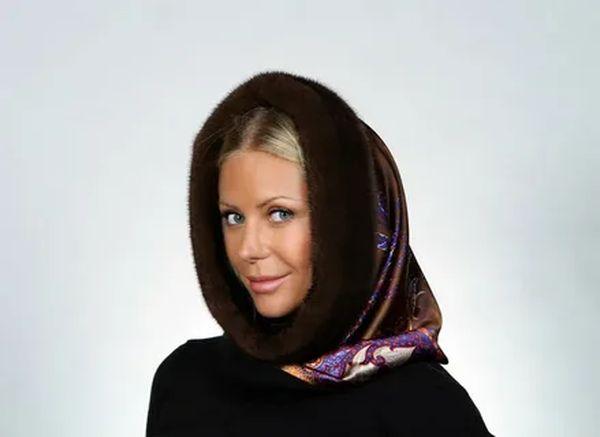 платок на голову С норковой отделкой